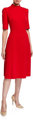 Donna Morgan Elbow-Sleeve Stretch Crepe Fit-and-Flare Dress