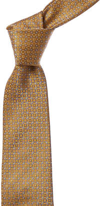 Canali Yellow Circles Silk Tie
