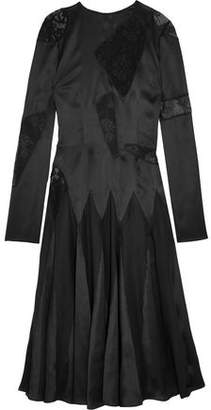 Christopher Kane Lace-Paneled Silk-Satin Midi Dress