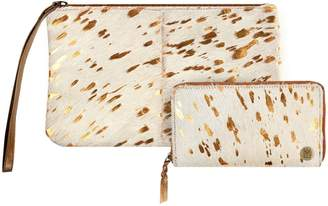MAHI Leather - Matching Clutch & Purse Gift Set In Cream & Copper Pony Hair Leather