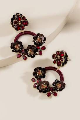 francesca's Trinity Sequined Circle Statement Earrings - Burgundy