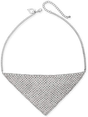 "Thalia Sodi Silver-Tone Crystal Mesh Triangle Statement Necklace, 18"" + 3"" extender"