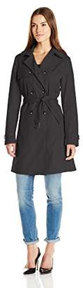 T Tahari Women's Laurie Classic Double Breasted Trench Coat with Lace Detail