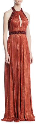 J. Mendel Metallic Beaded Halter Column Gown