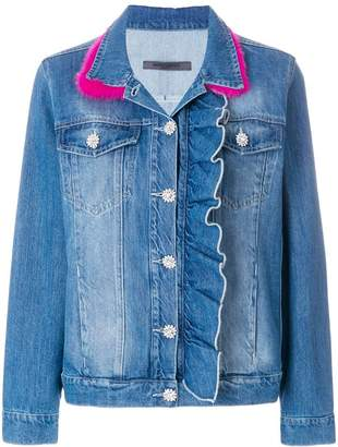 at Farfetch Simonetta Ravizza ruched denim jacket