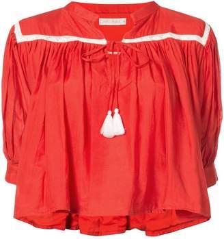 Carolina K. 3/4 sleeve cropped tassel top