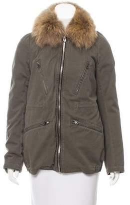 Yves Salomon Fur-Trimmed Zip-Up Coat