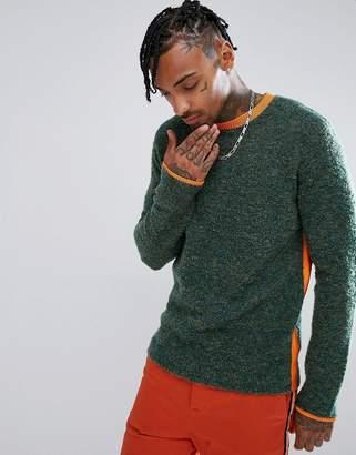 Asos Textured Sweater with Orange Side Stripe