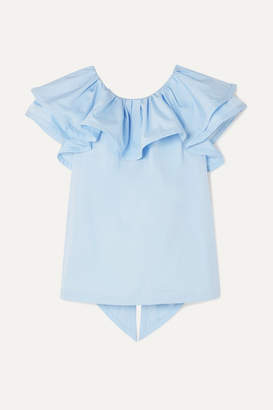 Marc Jacobs Ruffled Cotton-poplin Top - Blue