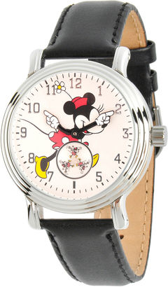 DISNEY Disney Womens Black And Silver Tone Vintage Alloy Minnie Mouse Leather Strap Watch W002766 $49.99 thestylecure.com