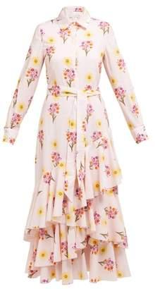 Borgo De Nor - Aurora Floral Cotton Shirt Dress - Womens - Light Pink