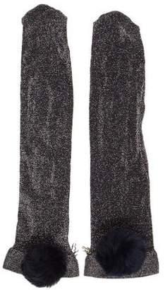 Edie Parker Metallic Fur-Trimmed Socks