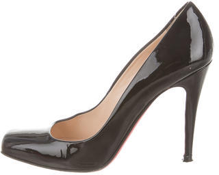 Christian Louboutin Patent Leather Square-Toe Pumps $290 thestylecure.com