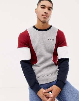 Nicce London sweatshirt in gray with contrasting panels