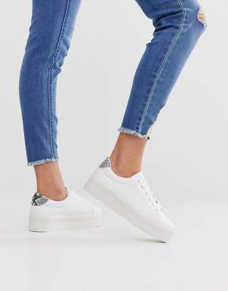 Park Lane flatform lace up trainer in white with snake tab