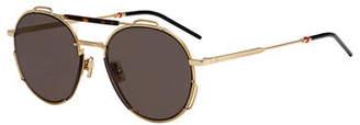 Christian Dior Men's Round Lightweight Sunglasses w/ Wire Accents