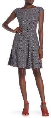 Gabby Skye Cap Sleeve Polka Dot Fit and Flare Dress