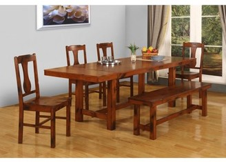 Manor Park 6-Piece Distressed Dark Oak Wood Dining Set with Bench