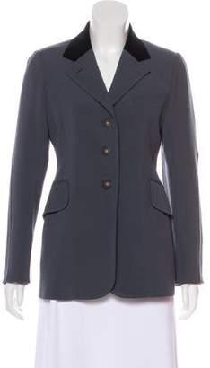 Hermes Velvet-Trimmed Wool Structured Blazer