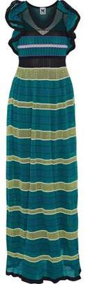 M Missoni Mesh-Paneled Ruffle-Trimmed Crochet-Knit Cotton-Blend Maxi Dress
