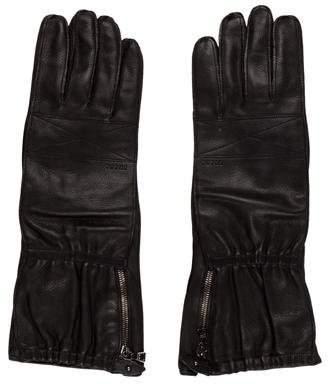 Prada Leather Logo Gloves