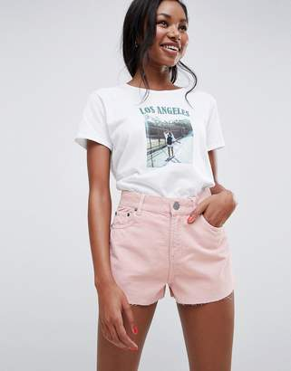Asos (エイソス) - ASOS DESIGN cord short with raw hem in pale pink