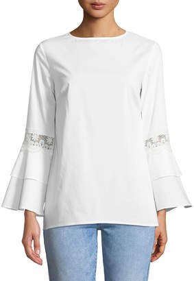 Neiman Marcus Crochet-Trim Tiered Bell-Sleeve Blouse