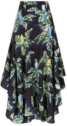 Stella McCartney Poppy Tropical Print Midi Skirt