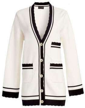 Emporio Armani Women's Contrast Trim Cardigan - Off White - Size 36 (0)