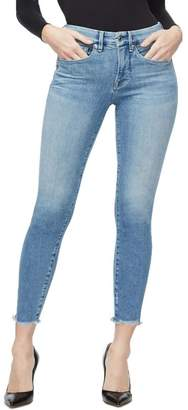 Good American Good Legs Raw Edge Ankle Skinny Jeans (Regular & Plus Size)
