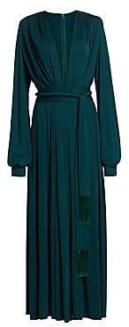 Oscar de la Renta Women's Deep V-Neck Long-Sleeve Gown