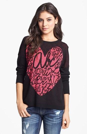 Truehitt Heart Sweater (Juniors) (Online Only) Black Medium