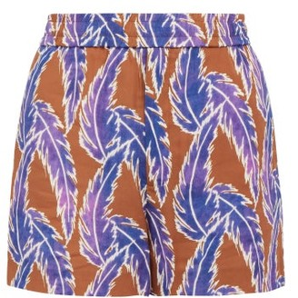 You As - Orion Leaf Print Twill Shorts - Mens - Purple