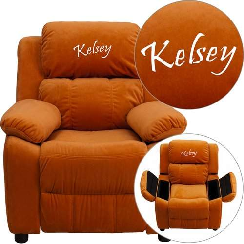 Flash Furniture Deluxe Contemporary Personalized Kids Recliner with Storage Compartment