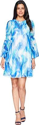 Calvin Klein Women's Long Sleeved Chiffon Printed Shift Dress