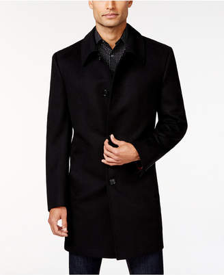 Kenneth Cole Reaction Estes Black Solid Slim-Fit Overcoat $350 thestylecure.com