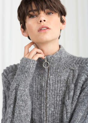 And other stories Zip Up Cable Knit Cardigan
