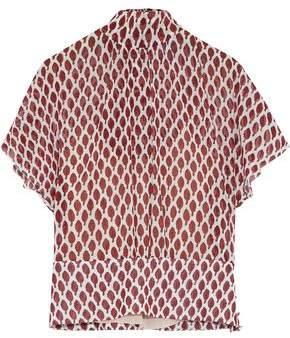 RED Valentino Tie-back Printed Chiffon Top