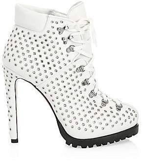 Gucci Alaà ̄a Alaà ̄a Women's Leather Grommet Lace-Up Booties