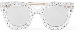 Crystal-embellished Cat-eye Acetate Mirrored Sunglasses - Silver