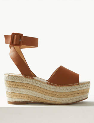 Marks and Spencer Leather Wedge Heel Ankle Strap Sandals