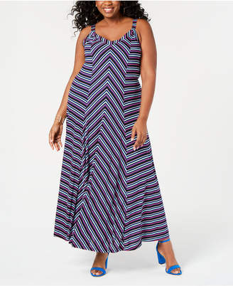 INC International Concepts I.N.C. Plus Size Striped Seamed Maxi Dress, Created for Macy's