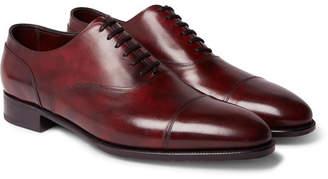John Lobb Alford Museum Burnished-Leather Cap-Toe Oxford Shoes - Men - Burgundy
