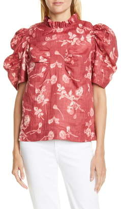 Sea Monet Floral Ruched Puff Sleeve Top