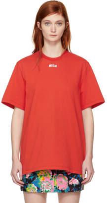 MSGM Red College Logo T-Shirt