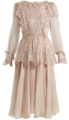 Maria Lucia Hohan Fleur Lace Trimmed Silk Mousseline Dress - Womens - Light Pink