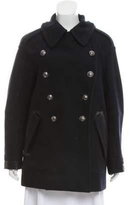 Belstaff Wool Double-Breasted Coat Navy Wool Double-Breasted Coat