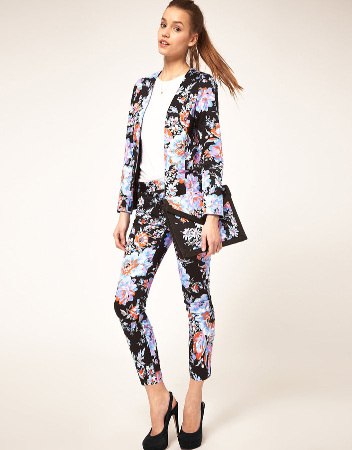 ASOS Cropped Pants In Floral Print