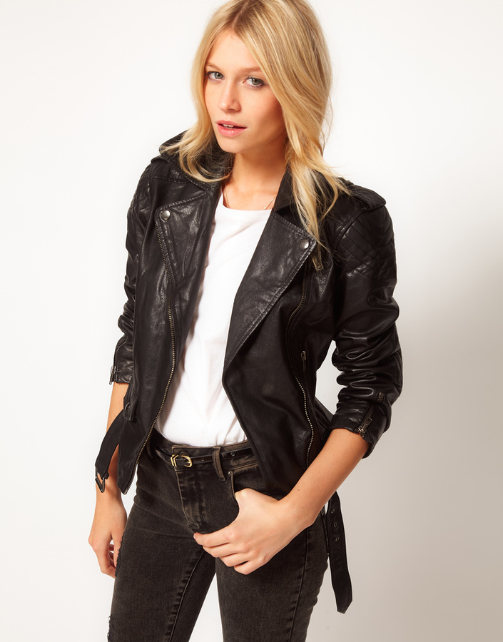 ASOS Leather Jacket With Belt