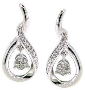 Sterling Silver Diamonds Earrings (1/10cttw